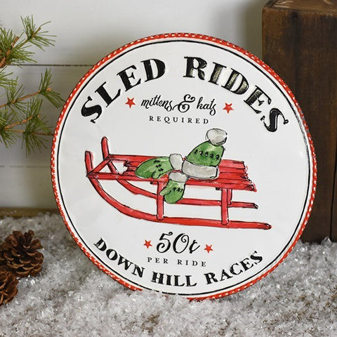 "Sled Rides Tin 14"" Round Sign"