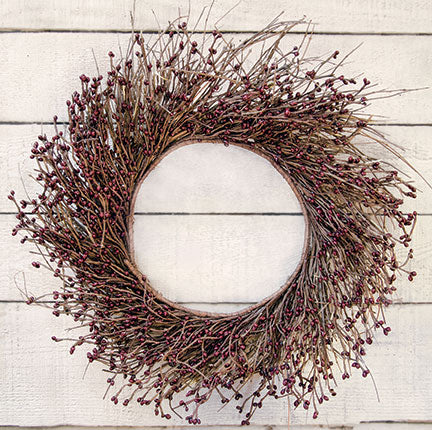 "Burgundy Pip Twig Wreath 22"" Diameter"