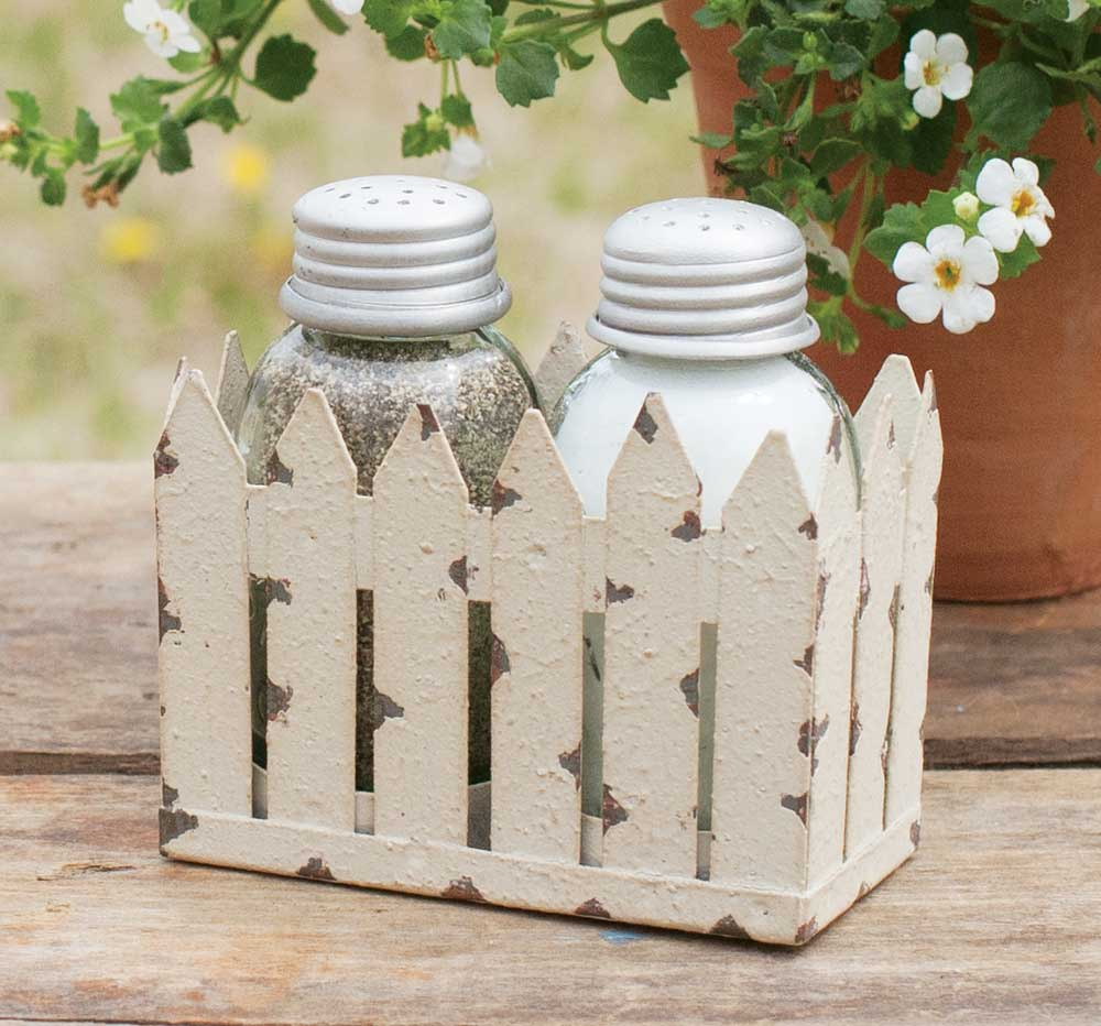 Picket Fence Caddy with Salt and Pepper Mason Jar Shaped Shakers
