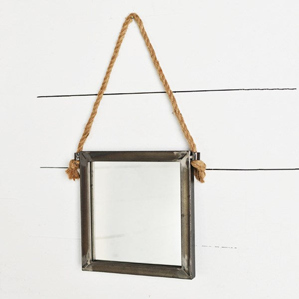 Square Industrial Style Wall Mirror