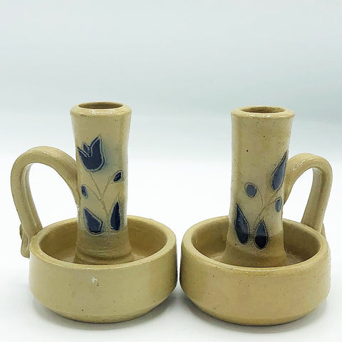 Set of 2 Salt Glaze Pottery Blue Flower Taper Holders