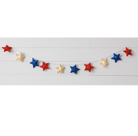 Red White And Blue Sisal Star Lights 6 ft long