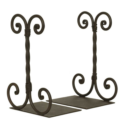 Wrought Iron Twirled Scroll Bookends