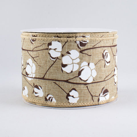 "Cotton Boll Natural Wired Ribbon 2.5"" wide x 10 yards"