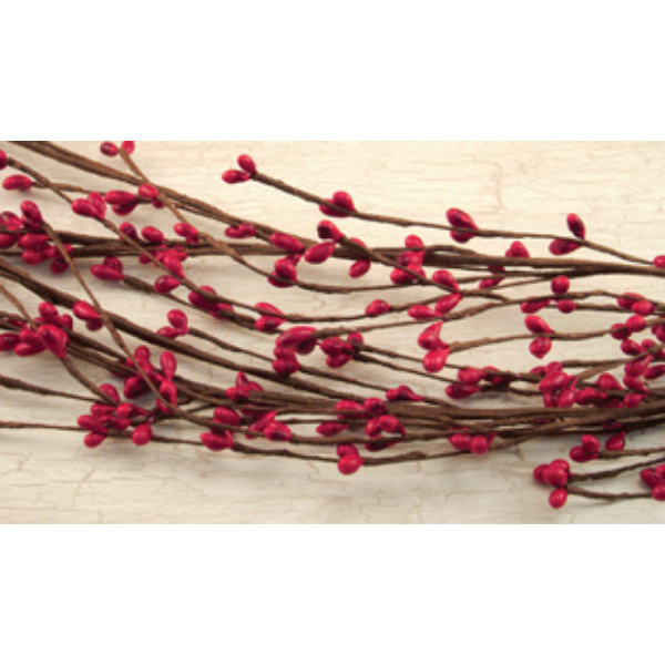 Red Pip Berries Wispy 4 ft Faux Garland