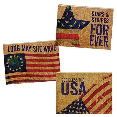 Set of 3 Stars & Stripes Mini Block Signs