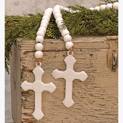 "White Farmhouse Beads with Cross 45"" Garland"
