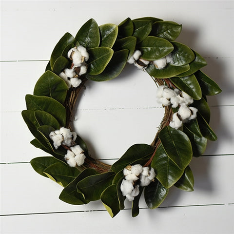 "Farmhouse Magnolia and Cotton 22"" Wreath"