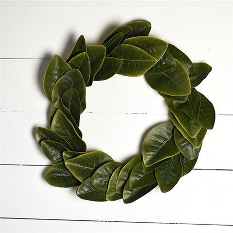 "Farmhouse Magnolia Leaves 20"" Wreath"