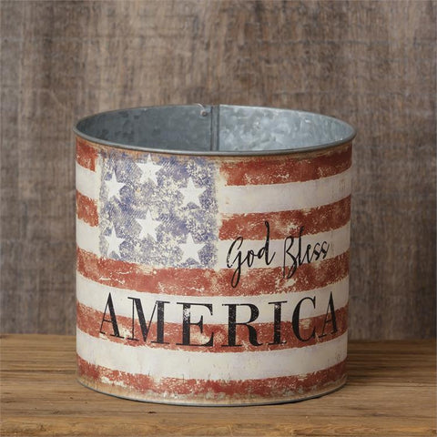 "God Bless America - Round Flag Distressed 6"" Tin"