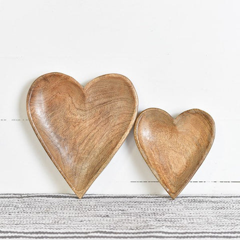 Set of 2 Wood Carved Decorative Heart Bowls