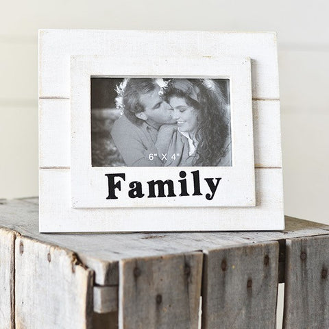 "Family White Slat Wooden Frame 4"" x 6"" photo"