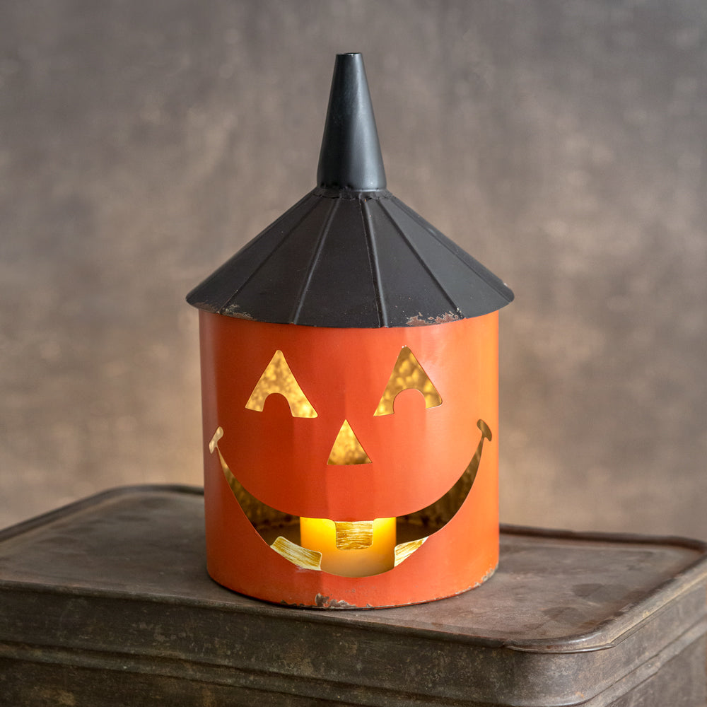 Rustic Jack-O'-Lantern Funnel Lid Container