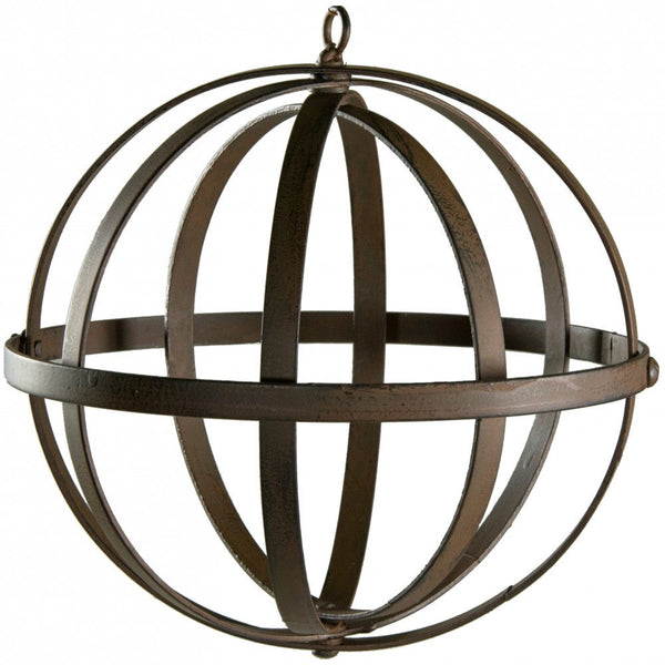"Wrought Iron Ball - 8"" Antique Rust Finish"