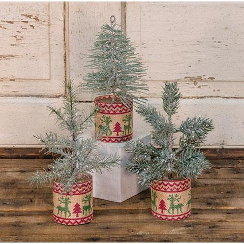 Set of 3 Scandinavian Evergreen Mini Trees