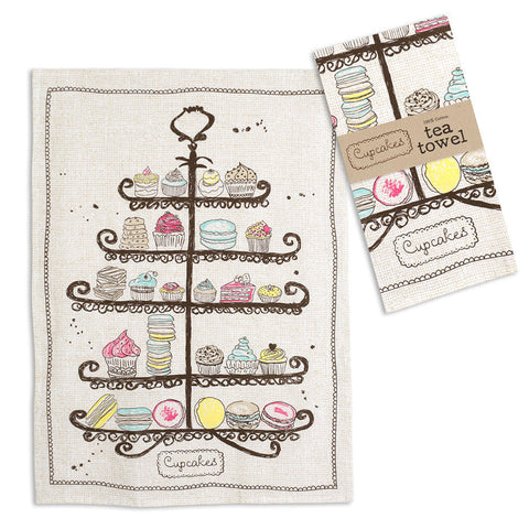 Tiers of Cupcakes Tea Towel