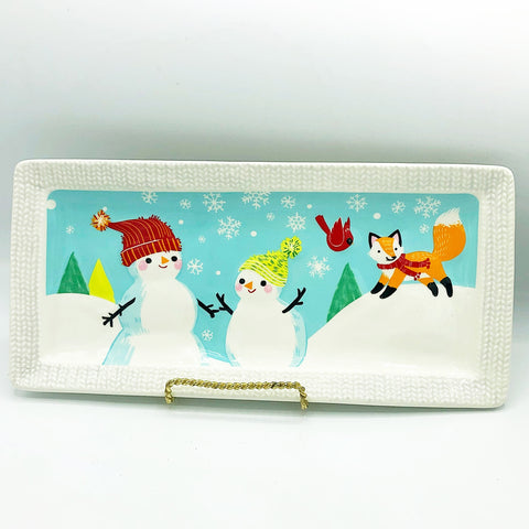 St Nicholas Square North Pole Snowmen & Fox Rectangle Platter