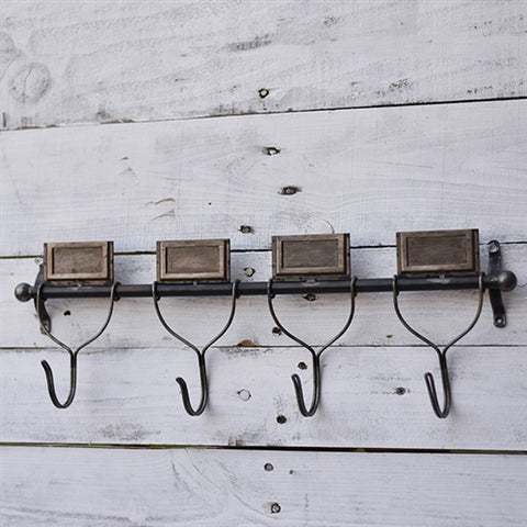 "Industrial Four Hook Wall Mount 20"" L"