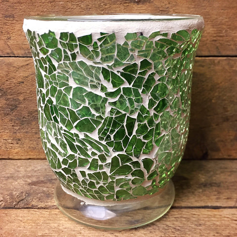 "Green Glass Mosaic Candle Holder /Vase 5"" H"