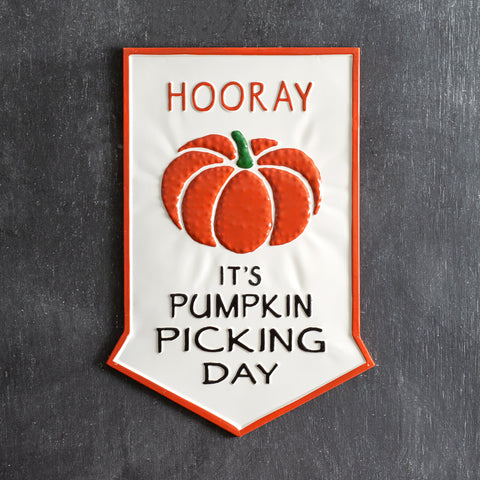 Pumpkin Picking Day Metal Arrow Shaped Wall Sign
