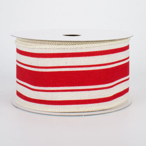 "Farmhouse Red and Cream Stripe Ribbon 2.5"" x 10 yards"