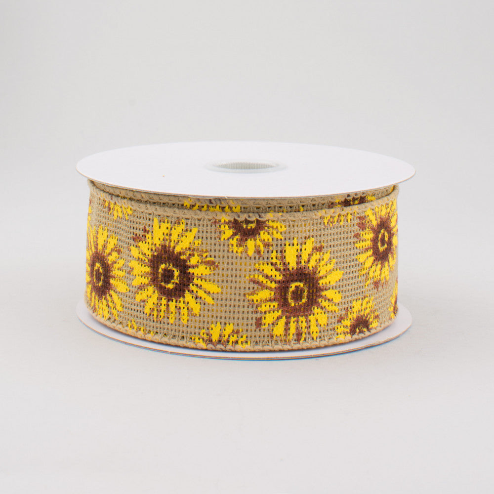 "Natural Burlap-Style Sunflower Ribbon 1.5"" W x 10 yards"
