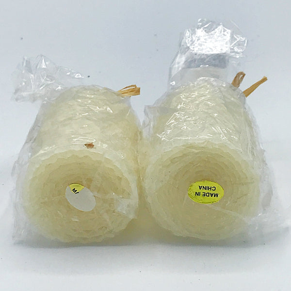 Set of Two Cream Beeswax 100% Honeycomb Handrolled Votive Candles