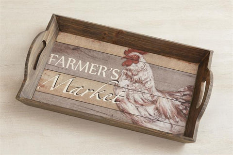 Farmer's Market Rooster Wooden Tray