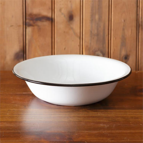 White Enamelware 1 Quart Low Bowl with Black Trim
