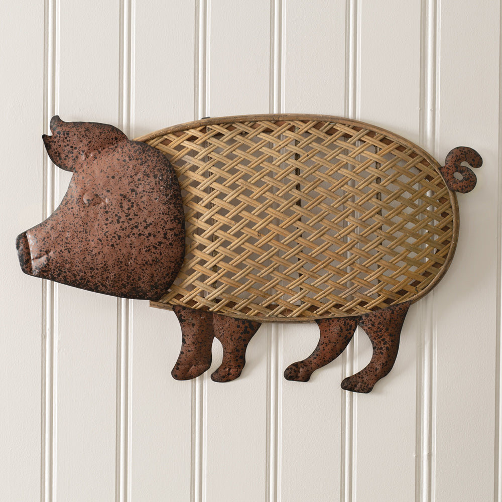 Rustic Rattan and Metal Pig Wall Decor