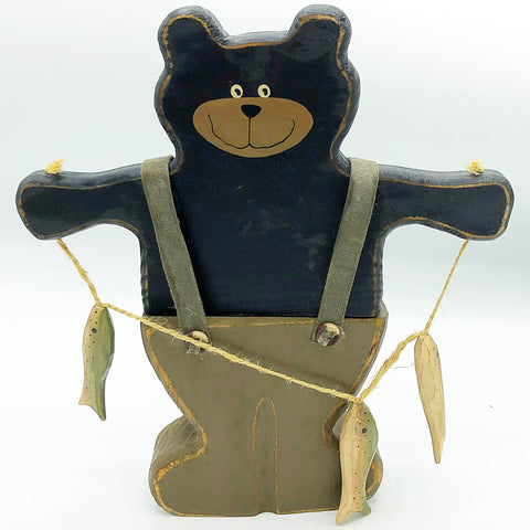 Fishing Bear Lodge Wooden Figure