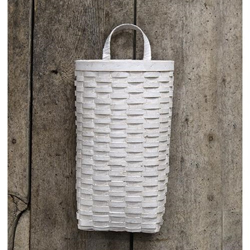 "Whitewash Half Moon 14"" L Wall Basket"