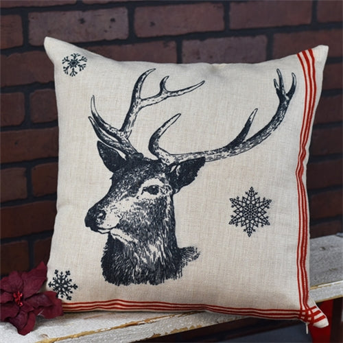 Reindeer Head Rustic Christmas Pillow