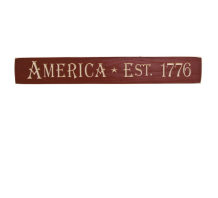 "America 1776 Engraved 24"" L Wooden Sign"