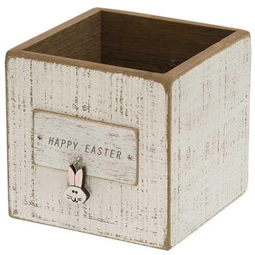 Happy Easter with Bunny Charm Wooden Box