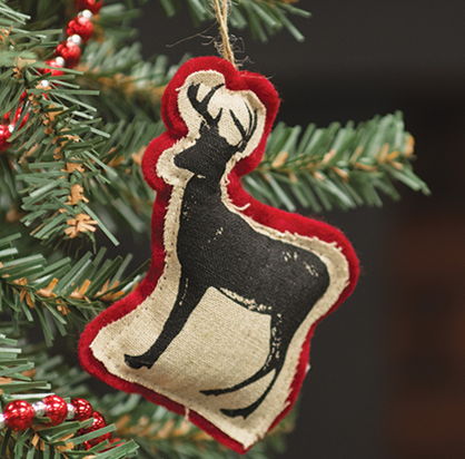 Retro Printed Felt Reindeer Ornament