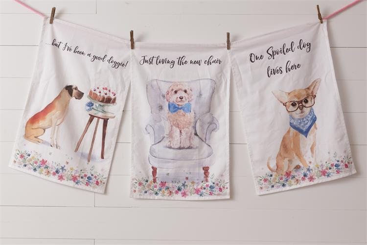 Set of Three Playful Pups Tea Towels