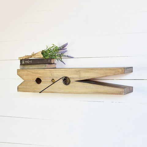 "Large Clothespin Wooden 30"" Shelf"