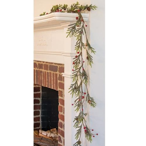 Mountain Pine & Berries 5 Ft Faux Garland