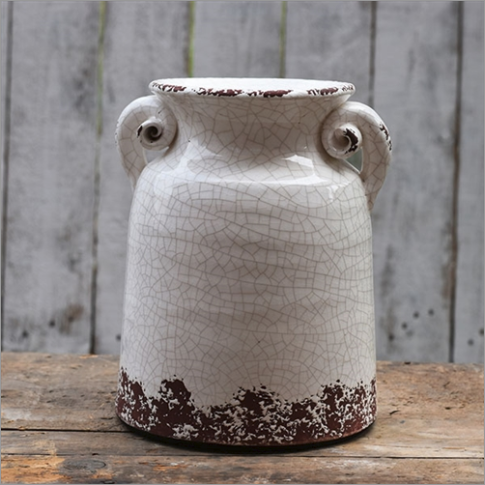 Distressed Scroll White Crackle Vase