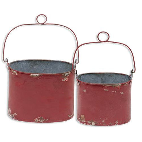 Set of 2 Distressed Red Buckets