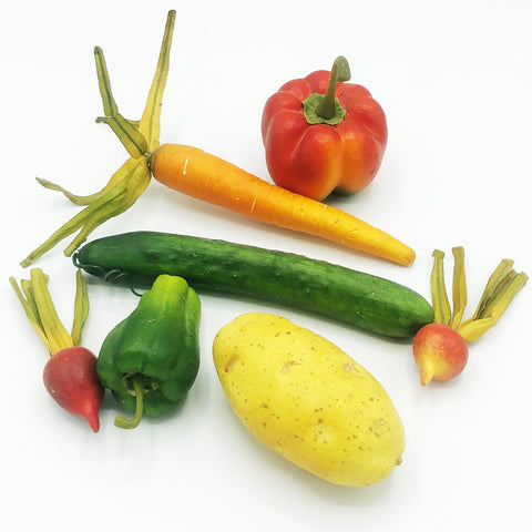Set of 7 Faux Vegetables Carrot Cucumber Radishes Peppers