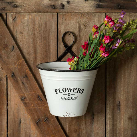 Flowers & Garden Distressed Wall Planter