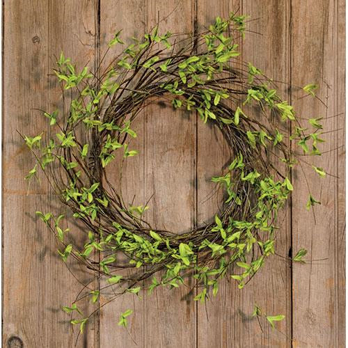 Natural Twig & Leaf Wreath 24""