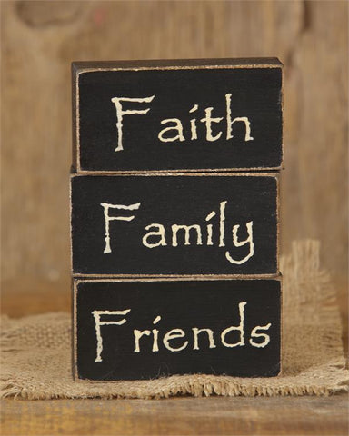 Faith Family Friends - Set of 3 Wooden Block Signs