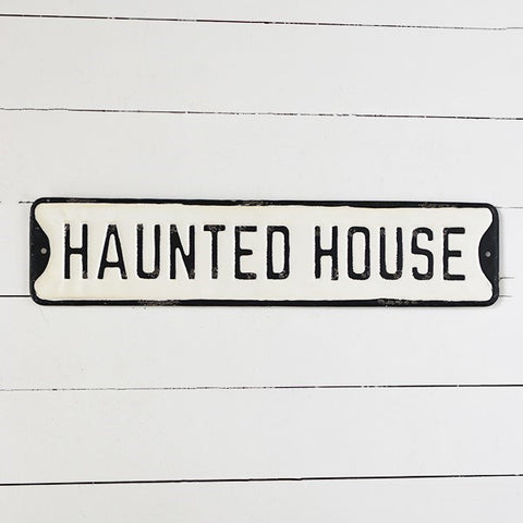 Distressed Haunted House Street Sign