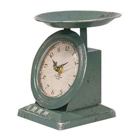 Vintage-Style Blue Old Town Scale Clock