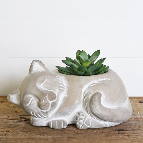 Sleeping Kitty Cat Natural Planter