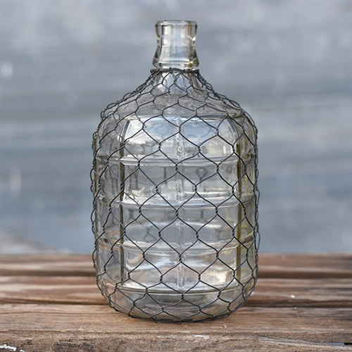 "Wire Wrapped 9"" Glass Jug Bottle"