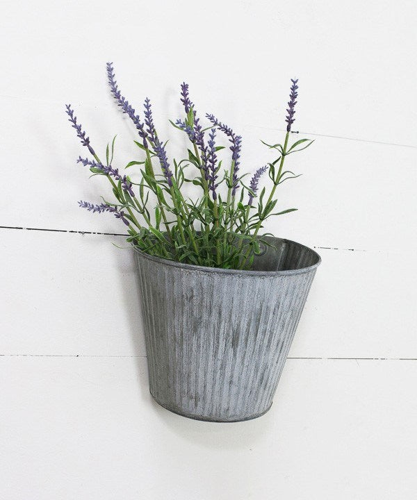 Ridged Wide Round Tin Wall Pocket Planter